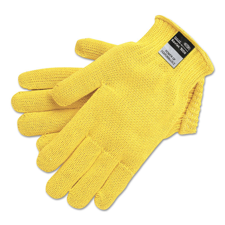 9370 Dupont Kevlar String Knit Gloves, 7 Gauge, Yellow, X-Large, 1 Dozen