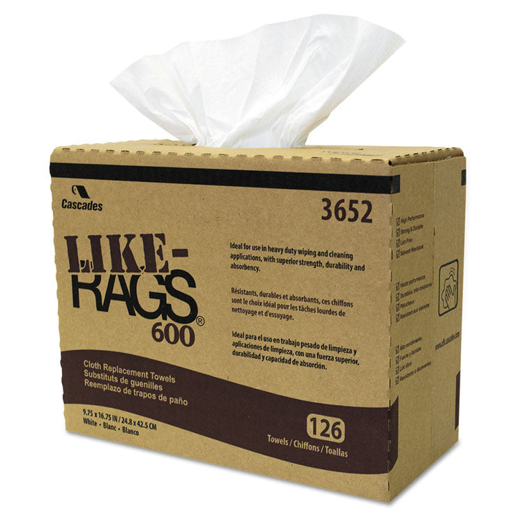 Like-Rags Spunlace Towels, White, 9 3/4 X 16 3/4, 126/box, 10 Box/carton