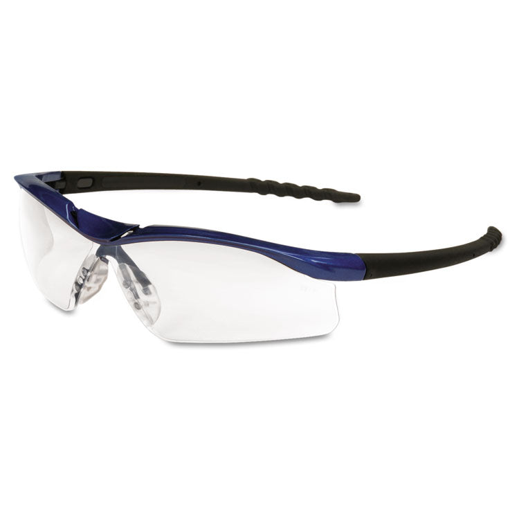 Dallas Wraparound Safety Glasses, Metallic Blue Frame, Clear Antifog Lens