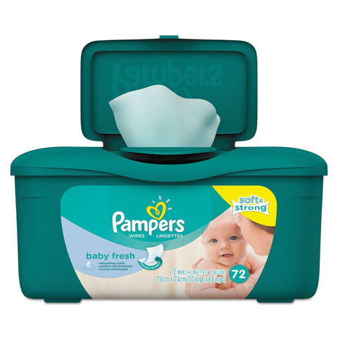 Baby Fresh Wipes, Baby Fresh Scent, White, Cotton, 72/tub, 8 Tub/carton