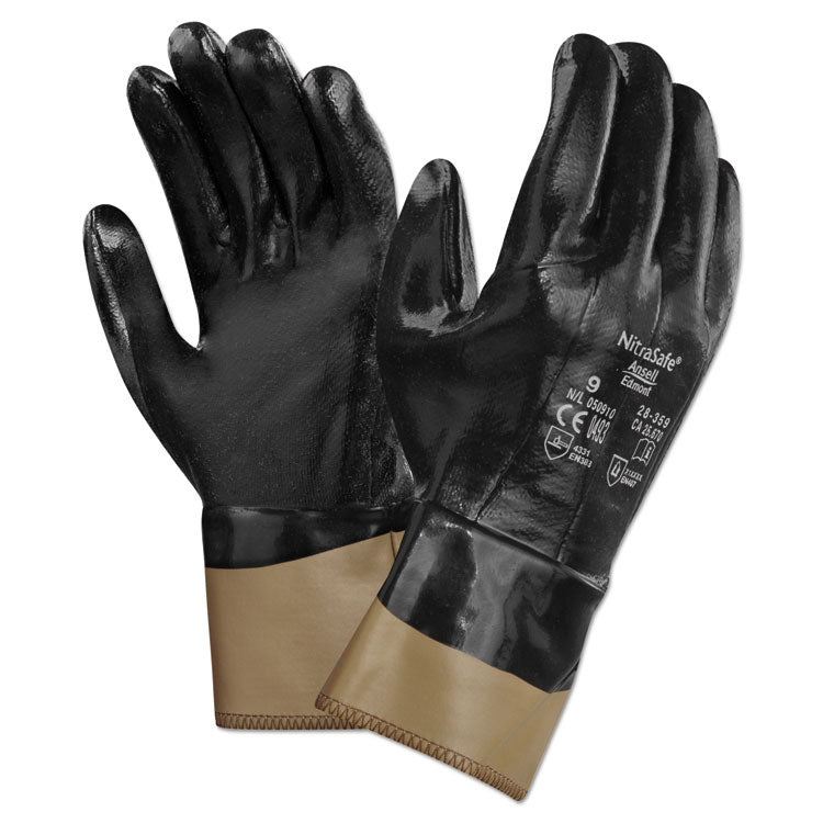 Nitrasafe Kevlar Work Gloves, Size 10, Kevlar/nitrile/jersey, Black/brown, 12 Pr