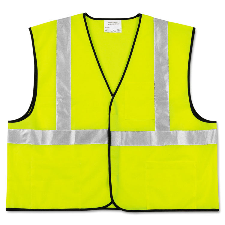Class 2 Safety Vest, Fluorescent Lime W/silver Stripe, Polyester, 2x-Large