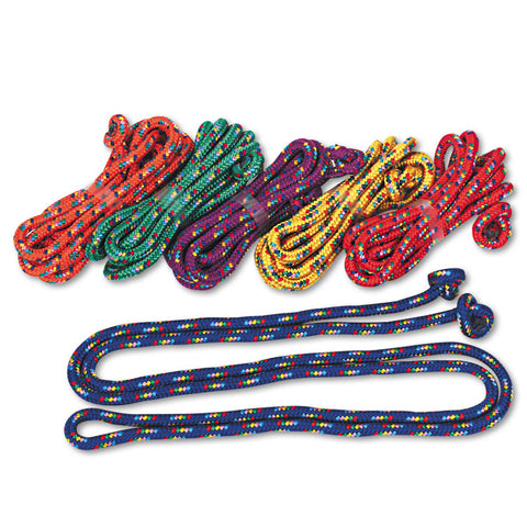 Braided Nylon Jump Ropes, 8ft, 6 Assorted-Color Jump Ropes/set