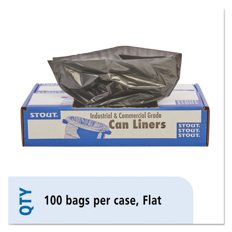 100% Recycled Plastic Garbage Bags, 65gal, 1.5mil, 50x51, Brown/black, 100/ct
