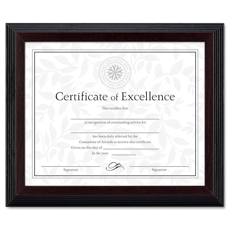 Stepped Award/certificate Frame, 8 X 10, Black W/walnut Trim