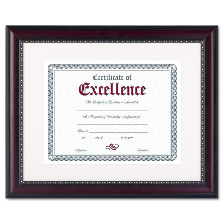 Prestige Document Frame, Matted W/cert, Rosewood/black, 11 X 14, 8 1/2 X 11