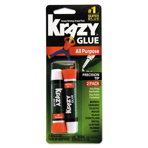 ALL PURPOSE KRAZY GLUE, 2G, CLEAR, 2/PACK