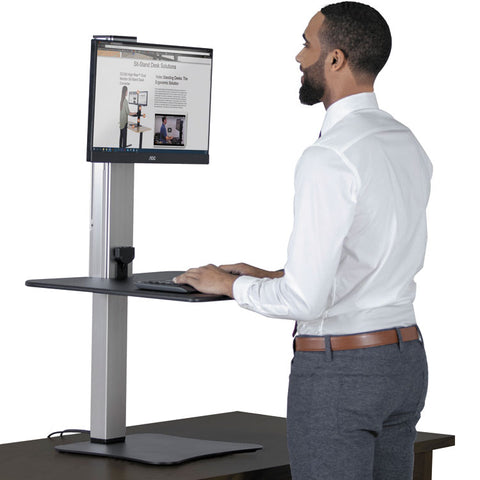 Dc400 High Rise Electric Standing Desk Workstation, Black/aluminum