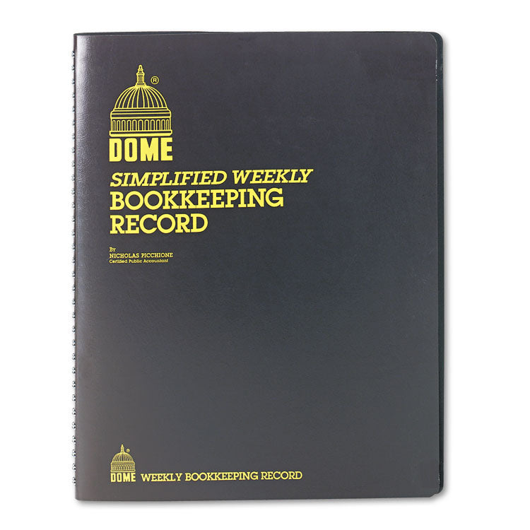 SIMPLIFIED WEEKLY BOOKKEEPING RECORD, BROWN VINYL COVER, 128 PAGES, 8 1/2 X 11