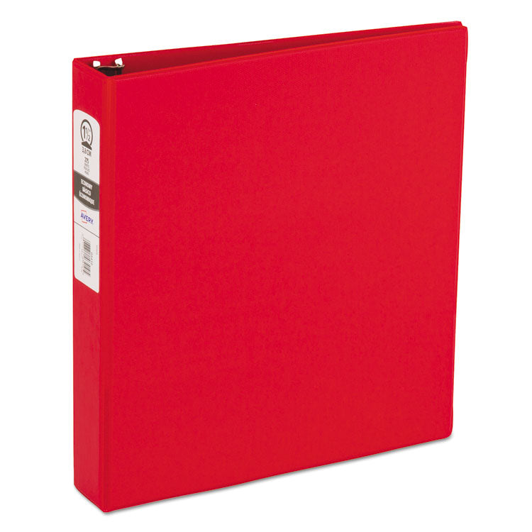 "Economy Non-View Binder With Round Rings, 11 X 8 1/2, 1 1/2"" Capacity, Red"