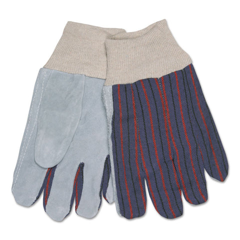 1040 Leather Palm Glove, Gray/white, Large, Dozen