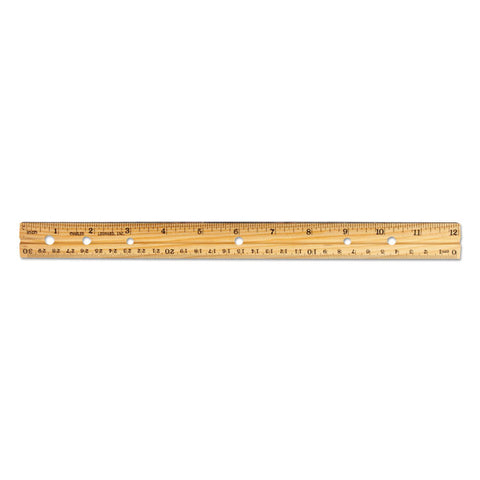 "Beveled Wood Ruler W/single Metal Edge, 3-Hole Punched, 12"", Natural, 36/box"