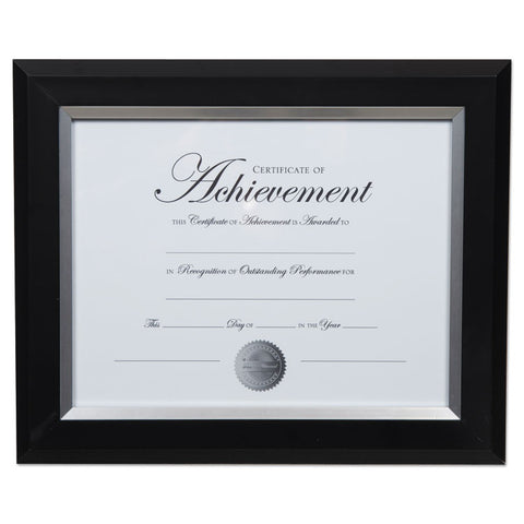 2-TONE DOCUMENT FRAME, 8 1/2 X 11 INSERT, BLACK/SILVER FRAME