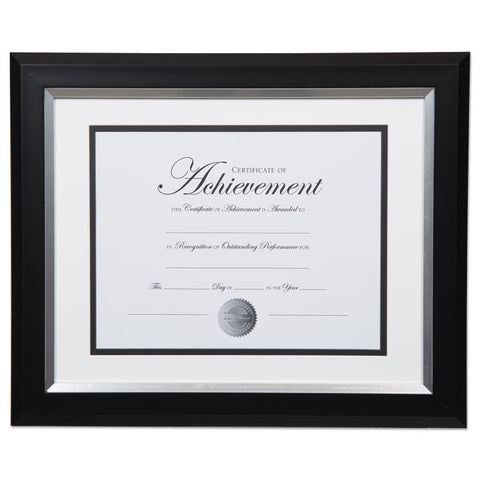 2-TONE 11 X 14 DOCUMENT FRAME, 8 1/2 X 11 INSERT, BLACK/SILVER FRAME, WHITE MAT