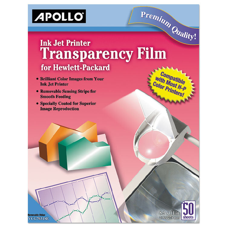 Quick-Dry Color Inkjet Transparency Film W/handling Strip, Letter, Clear, 50/box