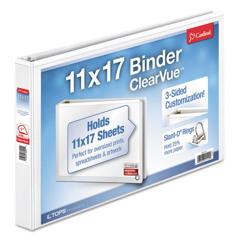 "11 X 17 Clearvue Slant-D Ring Binder, 1"" Cap, White"