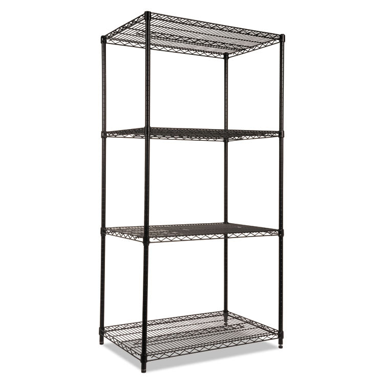 Industrial Heavy-Duty Wire Shelving Starter Kit, 4-Shelf, 36w X 24d X 72h, Black