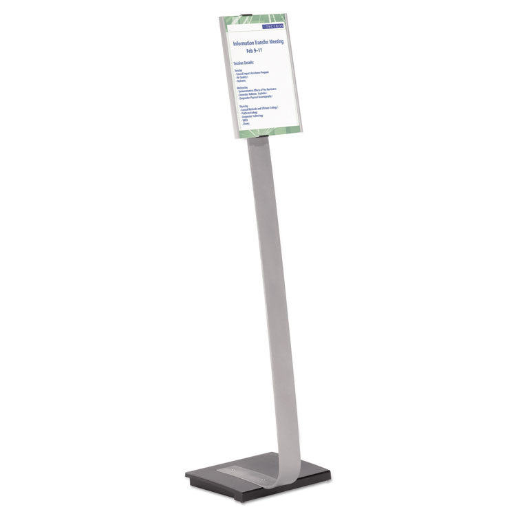 INFO SIGN DUO FLOOR STAND, LETTER-SIZE INSERTS, 15 X 46 1/2, CLEAR