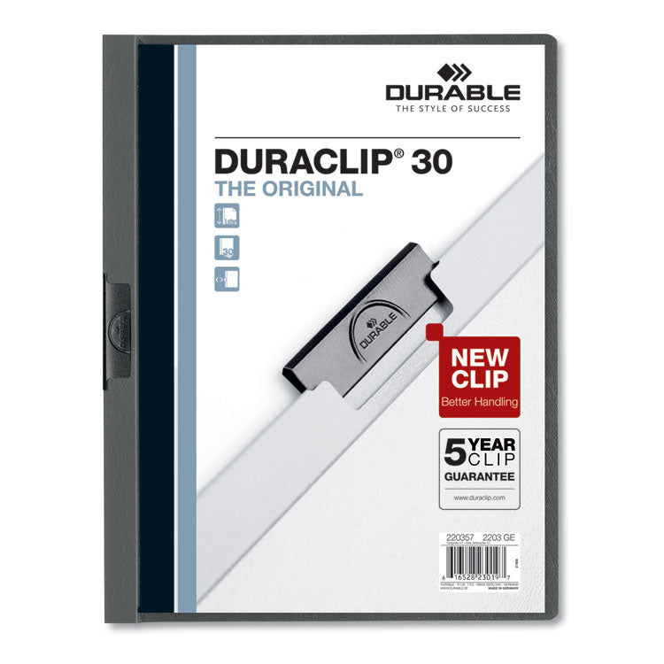 VINYL DURACLIP REPORT COVER, LETTER, HOLDS 30 PAGES, CLEAR/GRAPHITE, 25/BOX