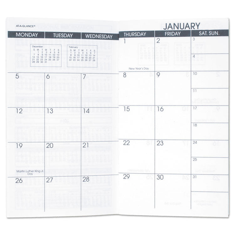 Pocket Size Monthly Planner Refill, 3 1/2 X 6 1/8, White, 2019-2020
