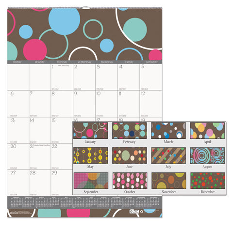 100% RECYCLED BUBBLELUXE WALL CALENDAR, 12 X 16 1/2, 2019