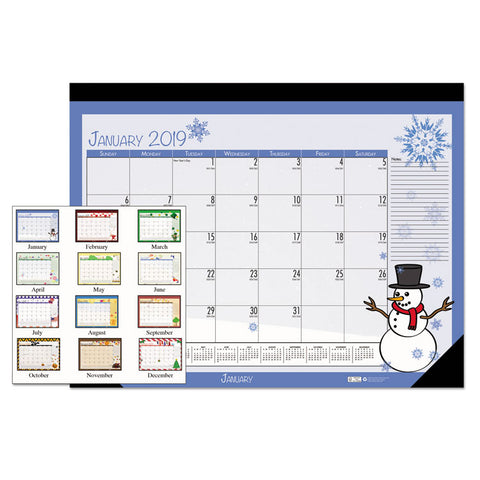 100% RECYCLED SEASONAL DESK PAD CALENDAR, 22 X 17, ILLUSTRATED HOLIDAY, 2019