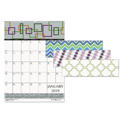 100% RECYCLED GEOMETRIC WALL CALENDAR, 12 X 12, 2019