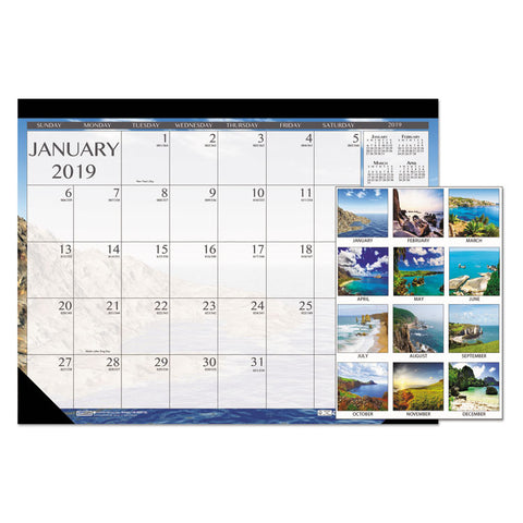 100% RECYCLED EARTHSCAPES SEASCAPES DESK PAD CALENDAR, 22 X 17, 2019