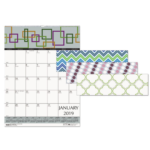 100% RECYCLED GEOMETRIC WALL CALENDAR, 12 X 16 1/2, 2019