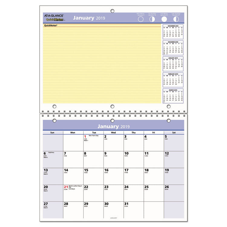 QUICKNOTES DESK/WALL CALENDAR, 11 X 8, 2019