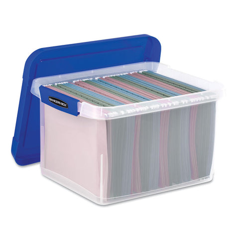 HEAVY DUTY PLASTIC FILE STORAGE, 14 X 17 3/8 X 10 1/2, LETTER/LEGAL, CLEAR/BLUE