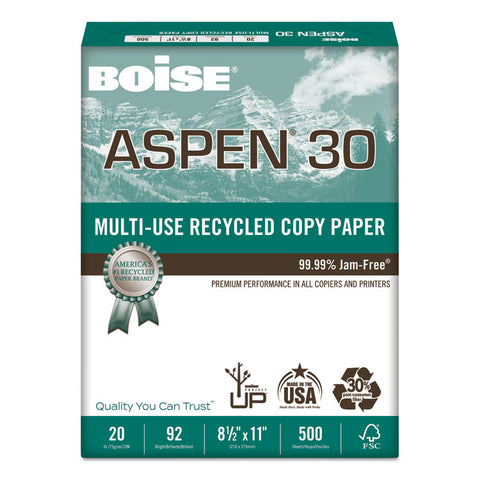 ASPEN 30% RECYCLED MULTI-USE PAPER, 92 BRIGHT, 20LB, 8 1/2 X 11, WHITE, 5000/CT