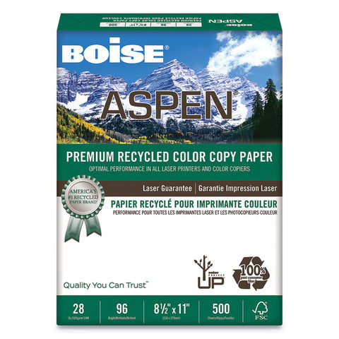 Aspen Premium Recycled Paper, 96 Bright, 28lb, Letter, White, 500 Sheets