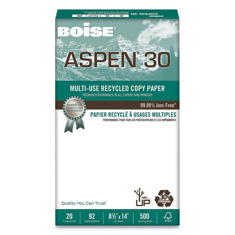 ASPEN 30% RECYCLED MULTI-USE PAPER, 92 BRIGHT, 20LB, 8 1/2 X 14, WHITE, 5000/CT