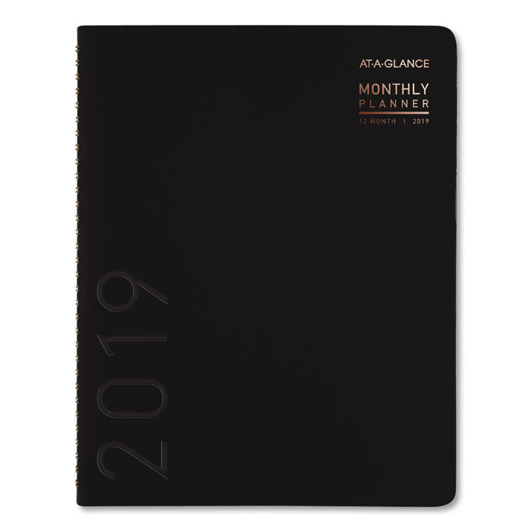 CONTEMPORARY MONTHLY PLANNER, 6 7/8 X 8 3/4, BLACK COVER, 2019
