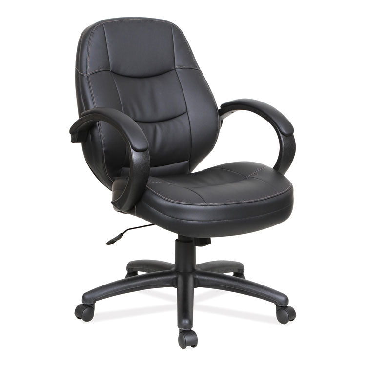 Alera Pf Series Mid-Back Leather Office Chair, Black Leather, Black Frame