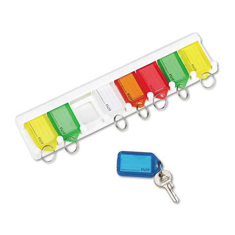Color-Coded Key Tag Rack, 8-Key, Plastic, White, 10 1/2 X 1/4 X 2 1/2