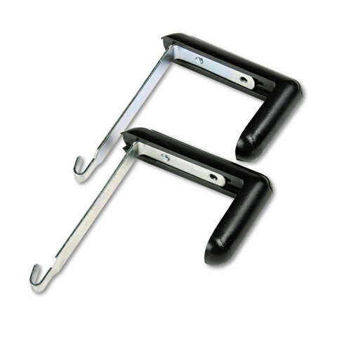 "Adjustable Cubicle Hangers, 1 1/2"" - 3"" Panels, Aluminum/black, 2/set"