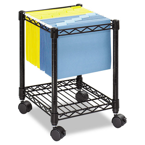 Compact Mobile Wire File Cart, One-Shelf, 15-1/2w X 14d X 19-3/4h, Black