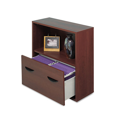 Apres File Drawer Cabinet With Shelf, 29 3/4w X 11 3/4d X 29 3/4h, Mahogany