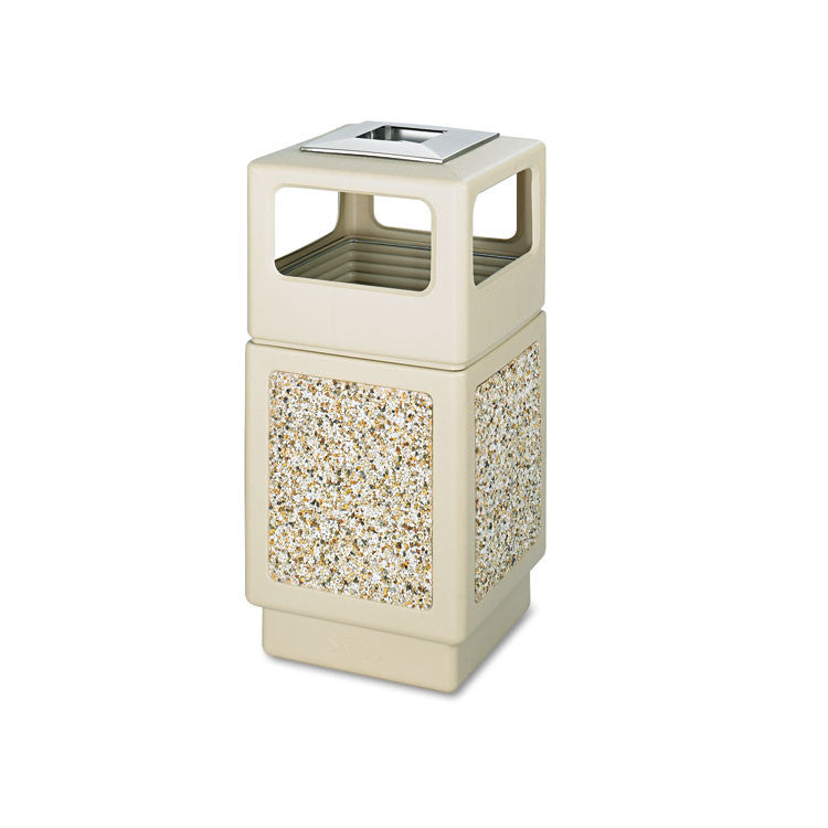 Canmeleon Ash/trash Receptacle, Square, Aggregate/polyethylene, 38gal, Tan
