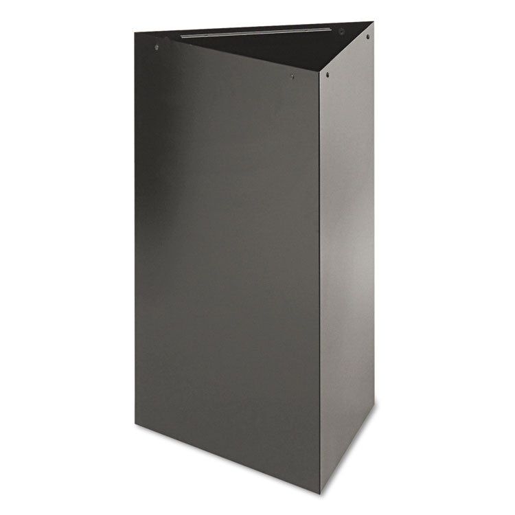 "Trifecta Receptacle 30"" High Base, Triangular, 17gal, Black"