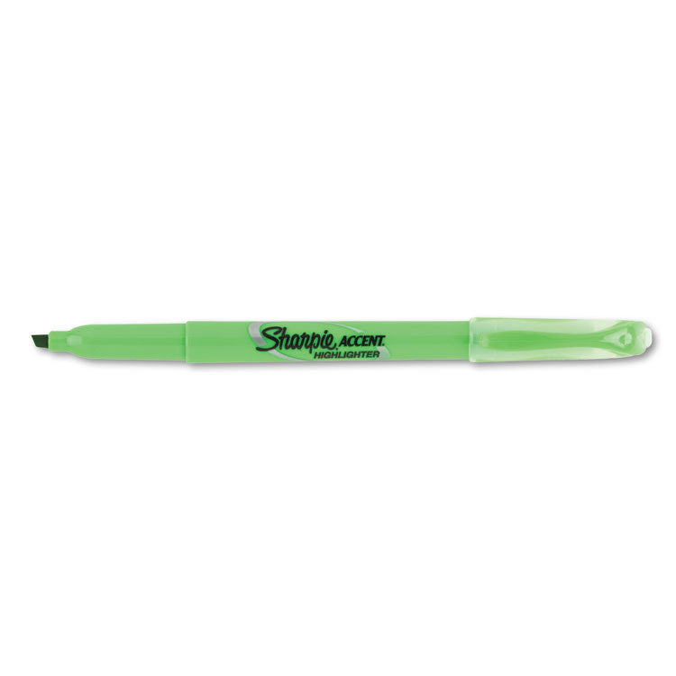 Accent Pocket Style Highlighter, Chisel Tip, Fluorescent Green, Dozen