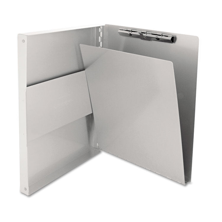 "Snapak Aluminum Side-Open Forms Folder, 1/2"" Clip, 8 1/2 X 12 Sheets, Silver"