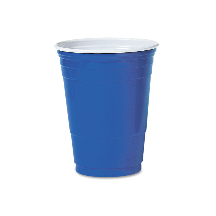SOLO PLASTIC PARTY COLD CUPS, 16OZ, BLUE, 50/PACK
