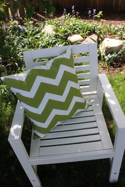 Chevron Green Outdoor Pillow