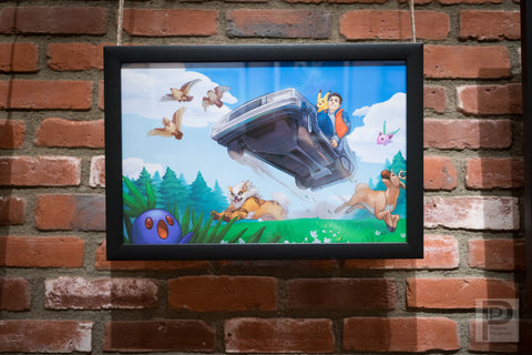 "Large Framed Art - 11x17"" Back to the Pokemon World"