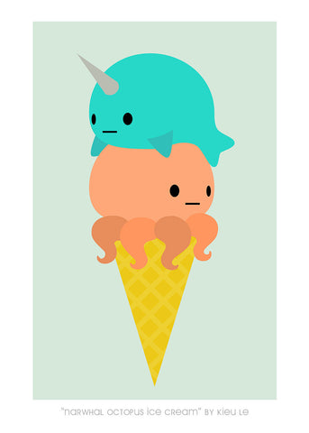 "Giclee Print - 5x7"" Narwhal Octopus Ice Cream"