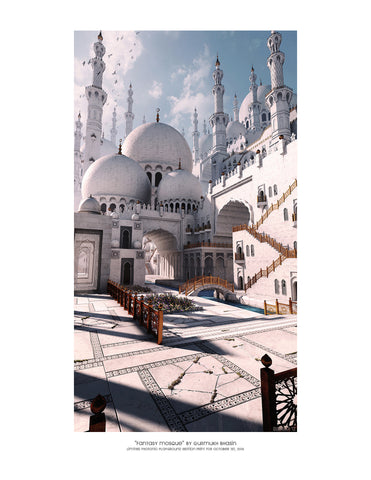 "Giclee Print - 8.5x11"" Fantasy Mosque"
