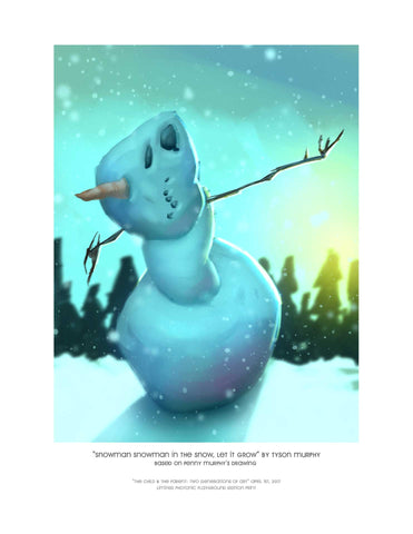 "Giclee Print - 8.5x11"" Snowman Snowman in the Snow, Let it Grow"